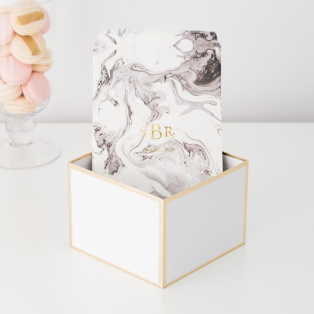 Personalized Paper Wedding Favor Gift Bag - Marble