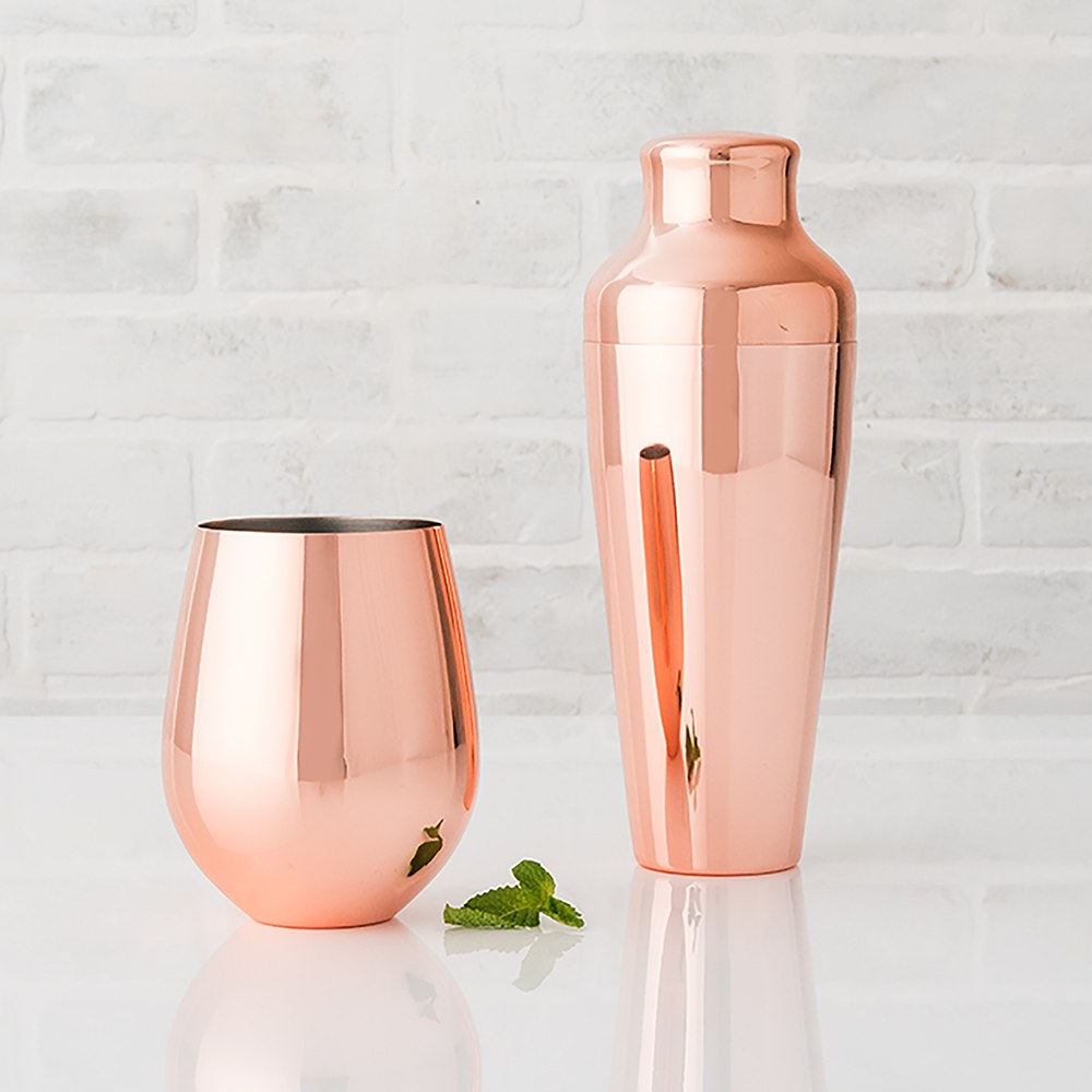 Copper Stemless Wine Glass