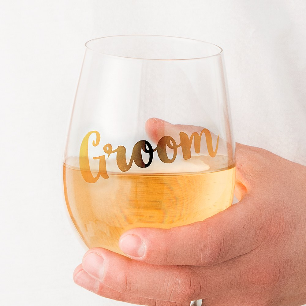 Stemless Toasting Wine Glass Gift for Wedding Party - Groom