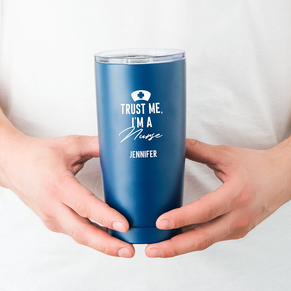 Stainless Steel Insulated Travel Mug - Trust Me I'm A Nurse