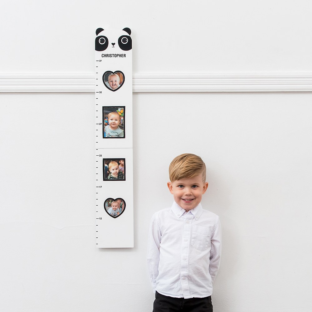 Personalized Children's Growth Chart & Frame - Panda Bear
