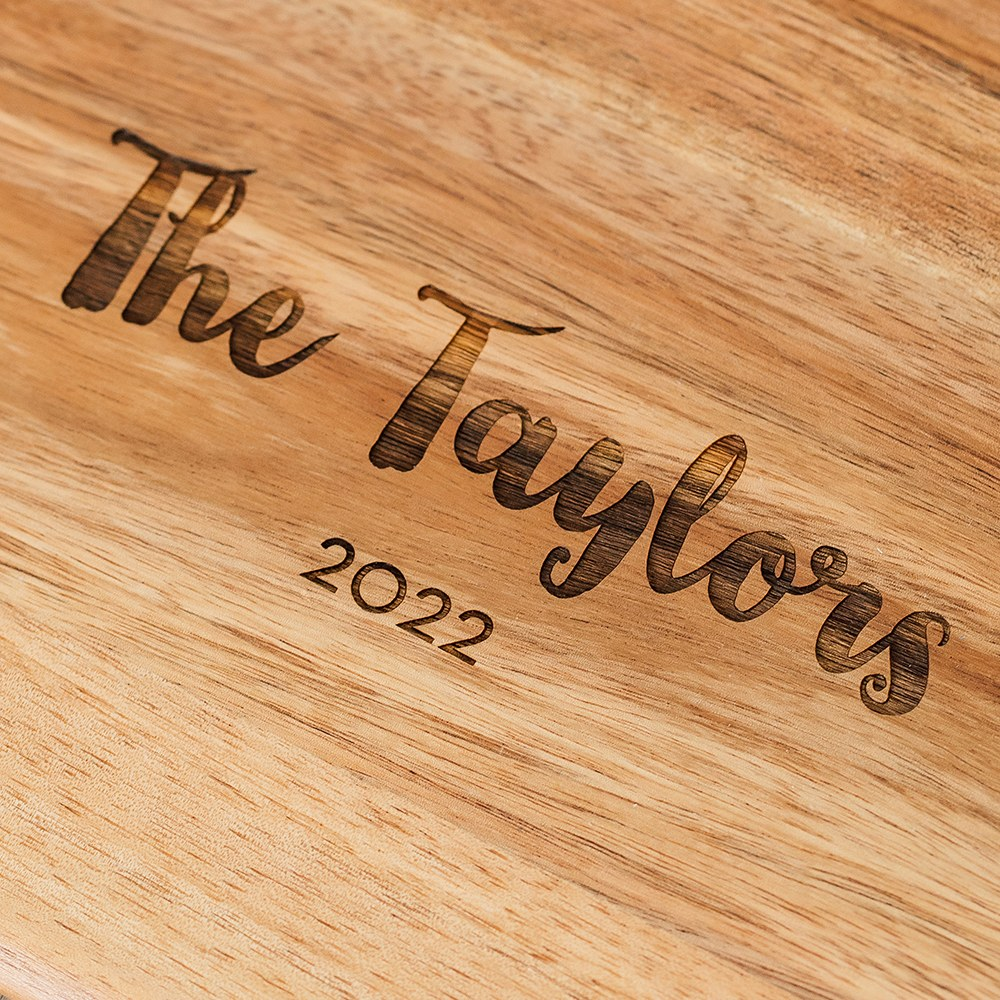 Personalized Wooden Cutting & Serving Board with White Handle - Retro Script