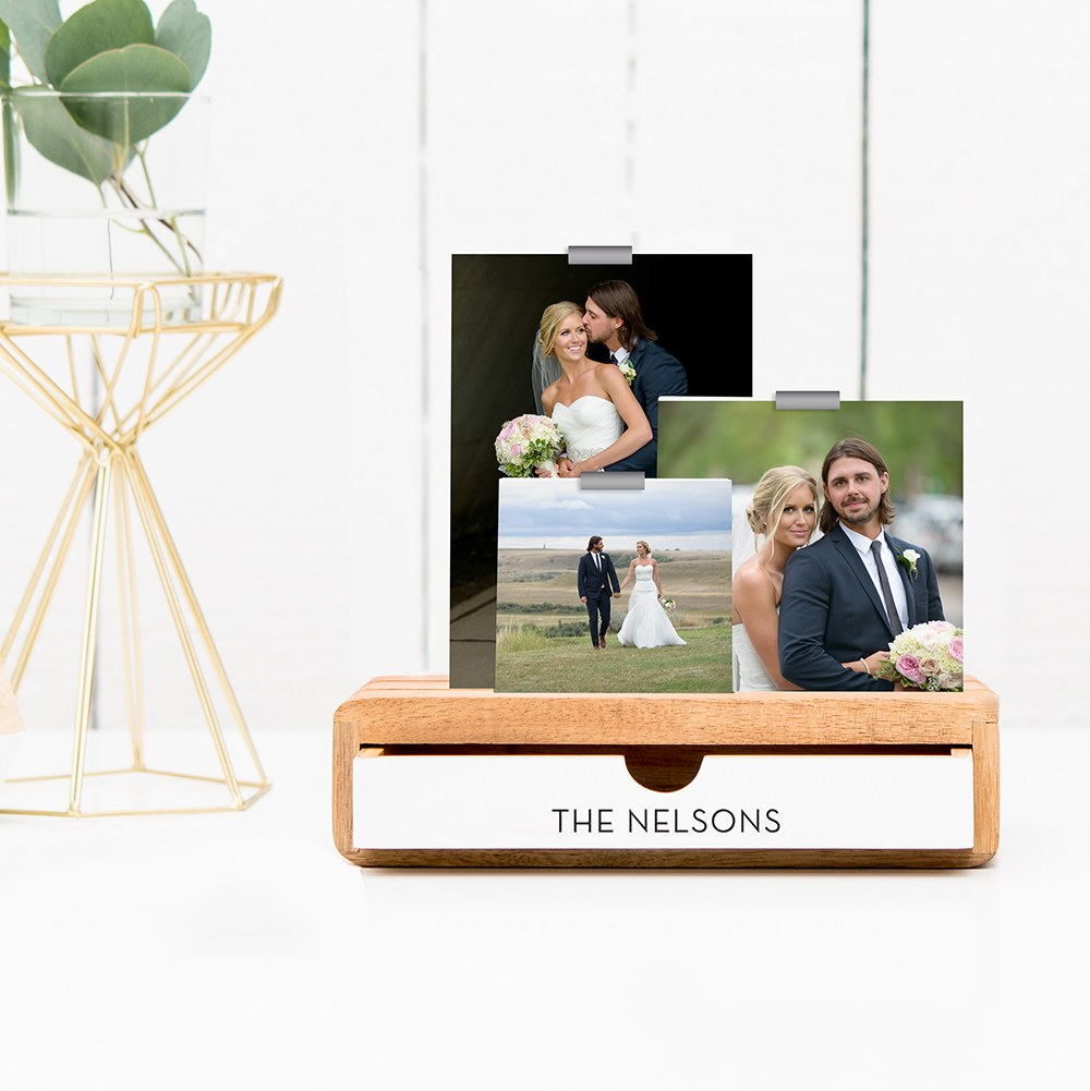 Personalized Glass Picture Frame and Wooden Desk Organizer - Modern Centered Print