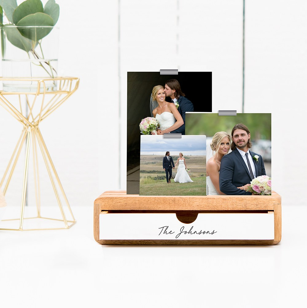 Personalized Glass Picture Frame and Wooden Desk Organizer - Signature Script