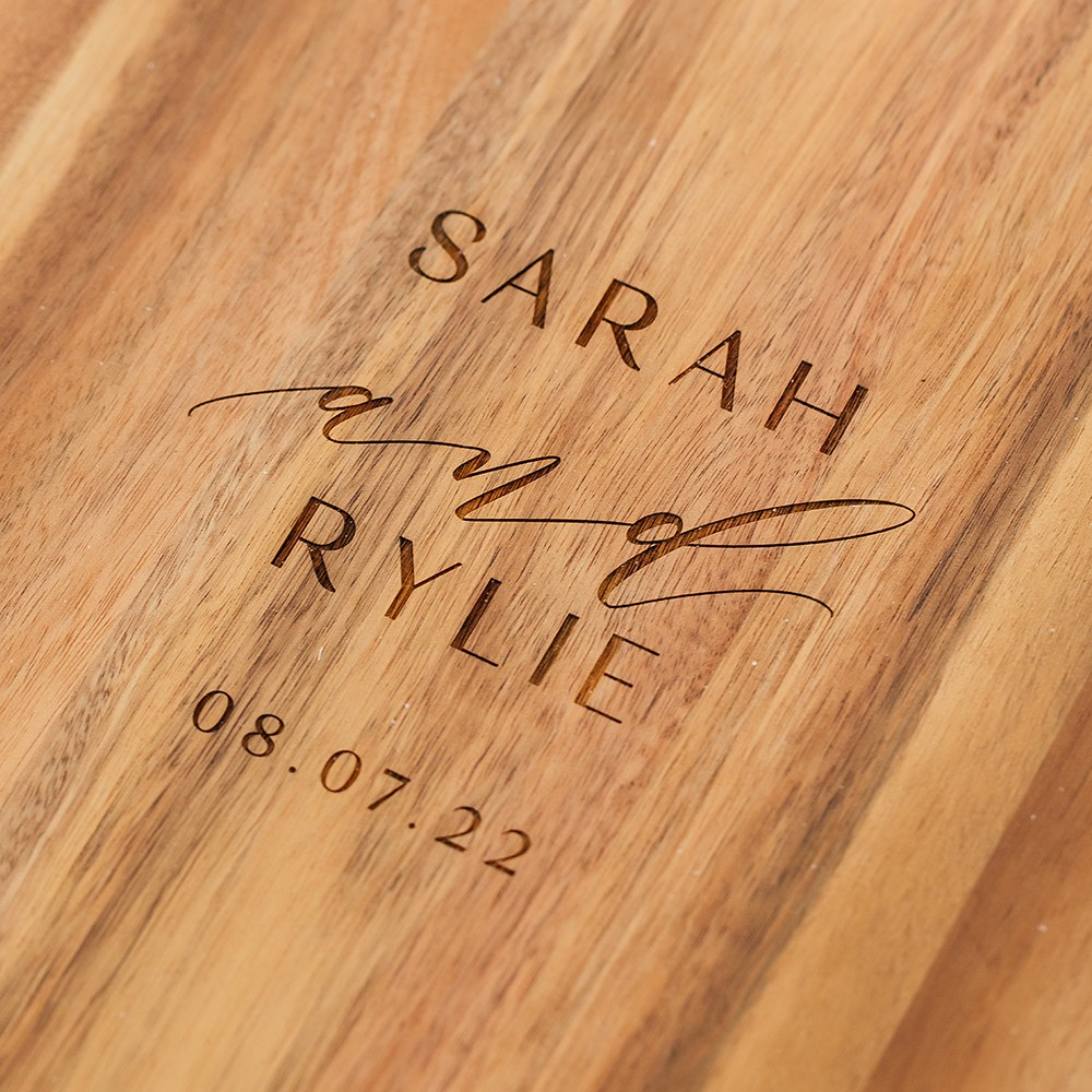 Personalized Wooden Round Cutting & Serving Board with Handle - Modern Couple