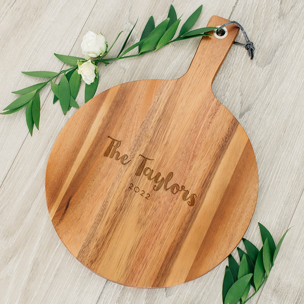 Personalized Wooden Round Cutting & Serving Board with Handle - Retro Script