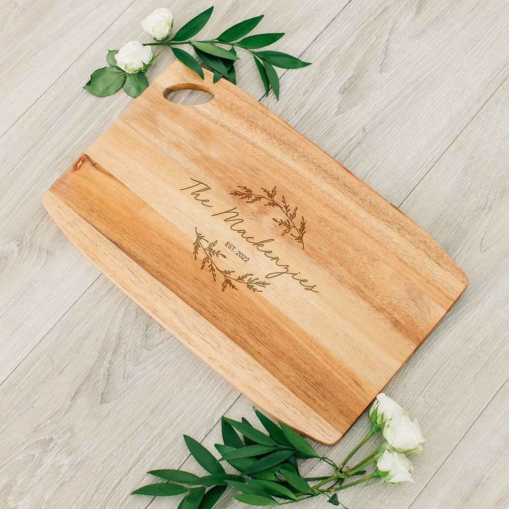 Personalized Wooden Rounded Rectangle Cutting & Serving Board - Signature Script