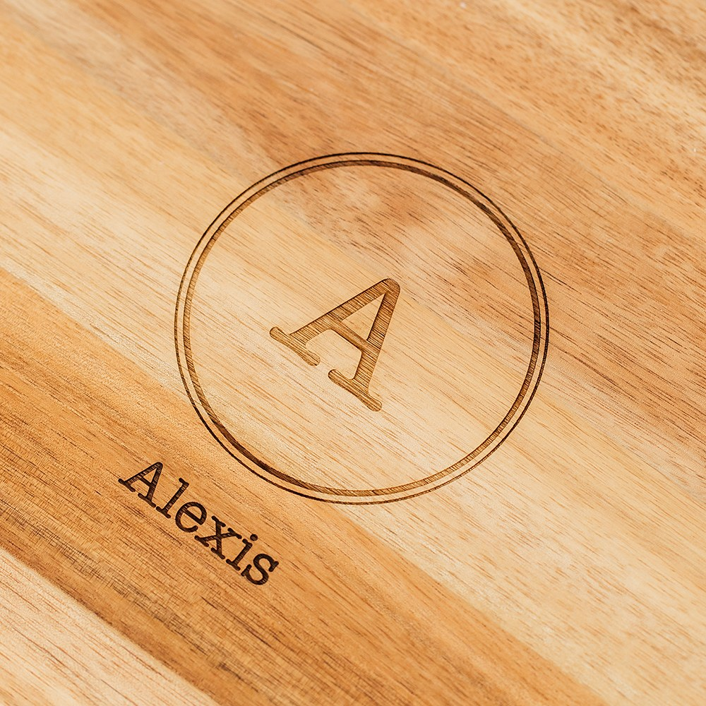 Personalized Wooden Rounded Rectangle Cutting & Serving Board - Circle Monogram