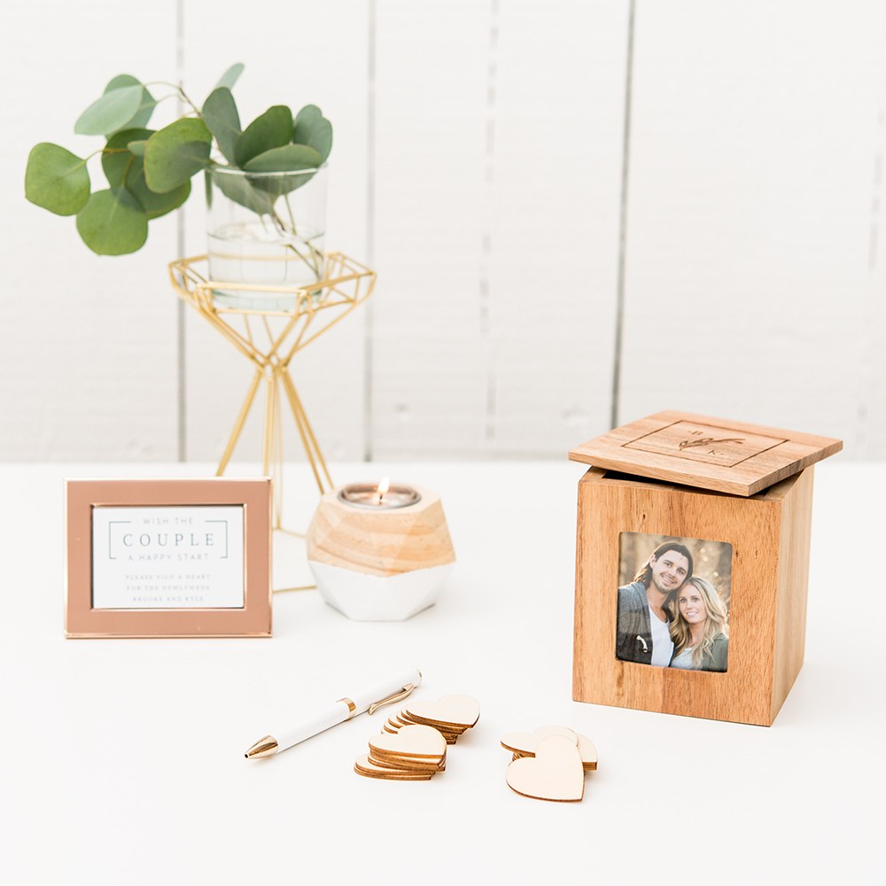Custom Wood Keepsake Box with Frame - Rustic Monogram Etching