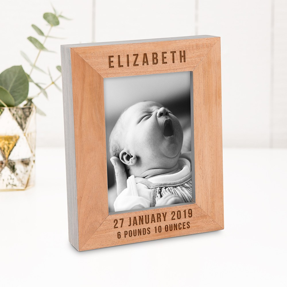 Custom Wooden Picture Frame with Grey Edges - Birth Date