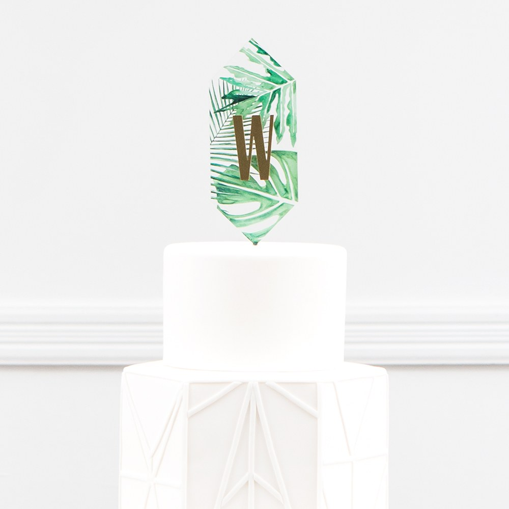 Greenery Floating Monogram Acrylic Cake Topper