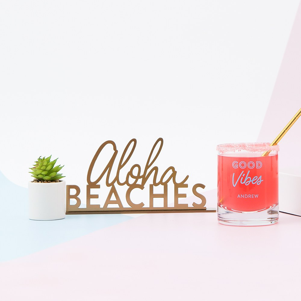 Acrylic Aloha Beaches - Tabletop Sign In Metallic Gold