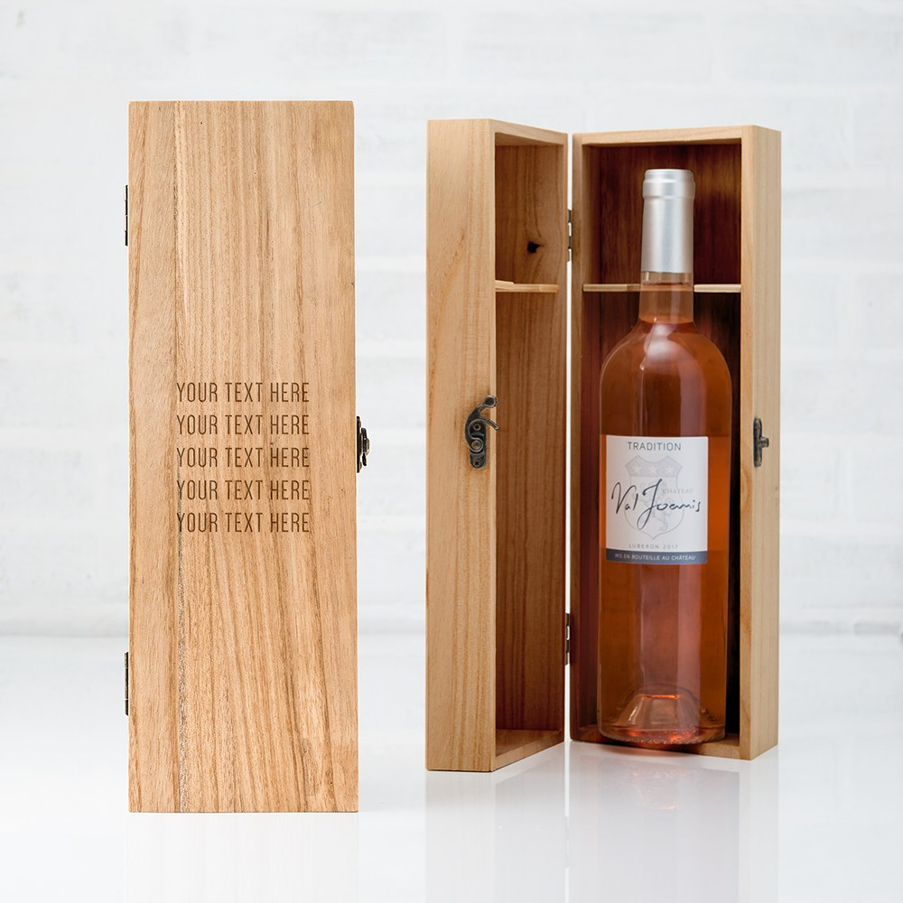 Custom Engraved Wooden Wine Gift Box with Lid - Custom Text