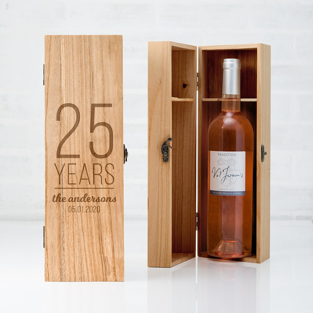 Custom Engraved Wooden Wine Gift Box with Lid - Happy Anniversary