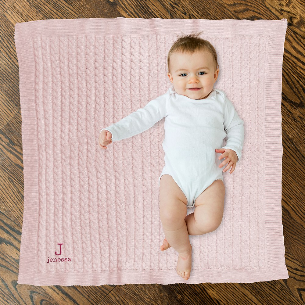 Personalized Cotton Cable Knit Baby Blanket - Monogram