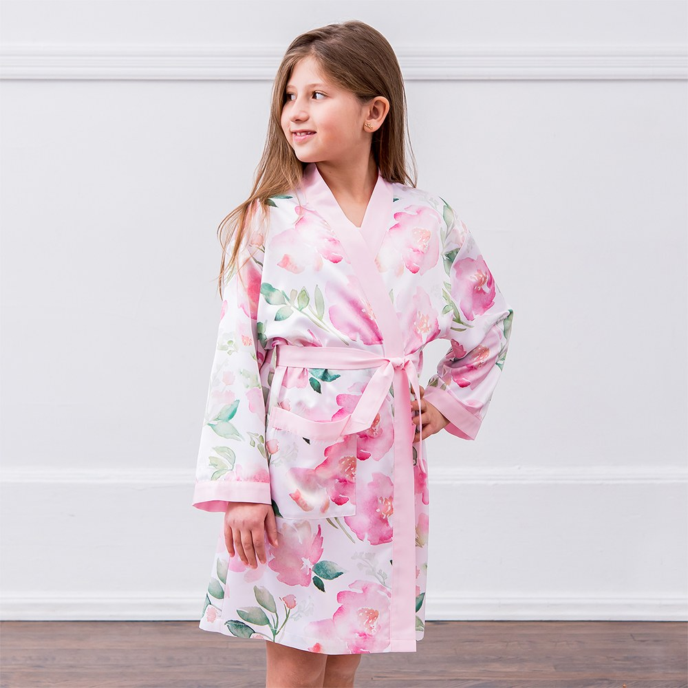 Personalized Junior Bridesmaid Satin Robe with Pockets- Pink Floral
