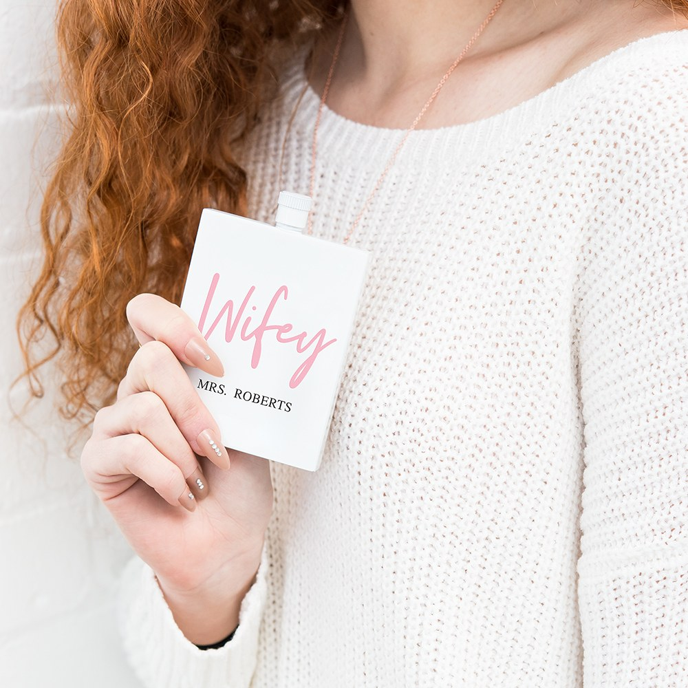 Personalized White Stainless Steel 3 oz. Hip Flask - Wifey Script