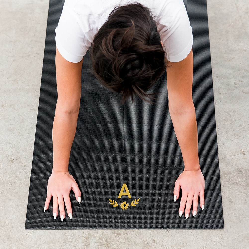 Best Custom No Slip Yoga Mat - Floral Monogram