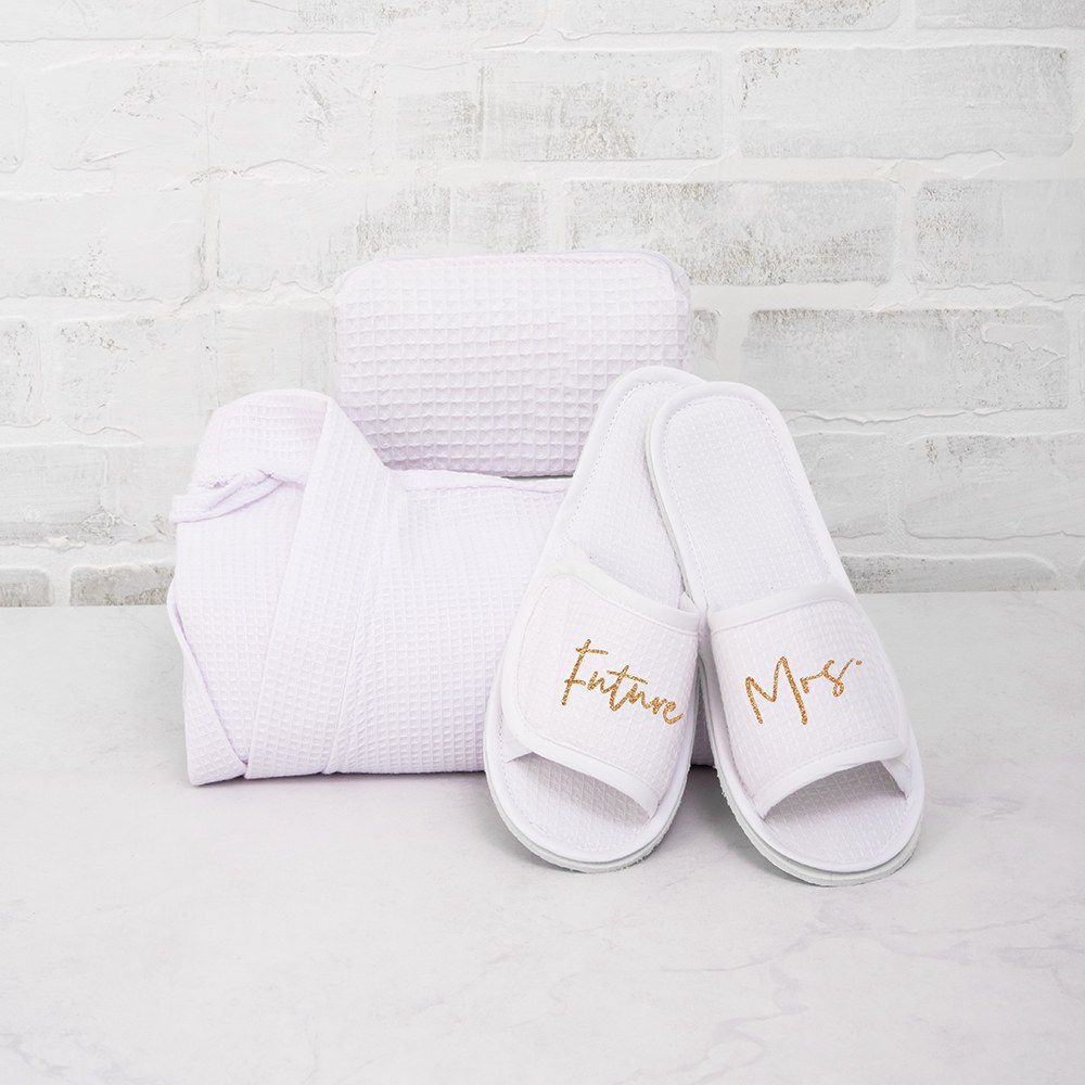 Women's Cotton Waffle Spa Slippers - Future Mrs.
