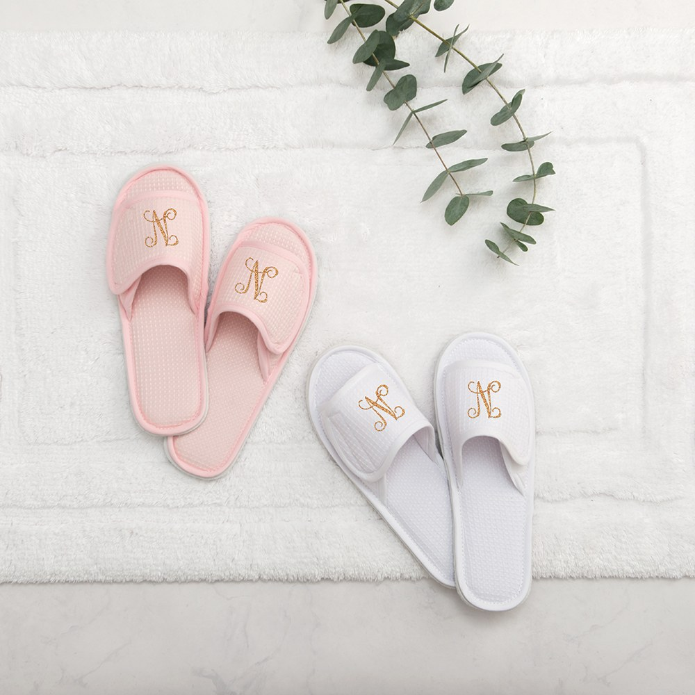 Women's Personalized Cotton Waffle Spa Slippers - Script Initial