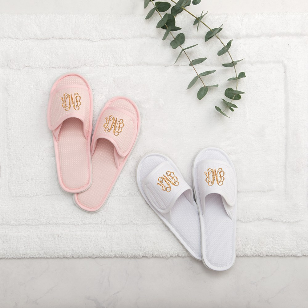 Women's Personalized Cotton Waffle Spa Slippers - Script Monogram