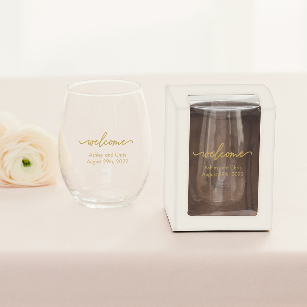 Large Stemless Wine Glass Gift Box with Clear Window - White
