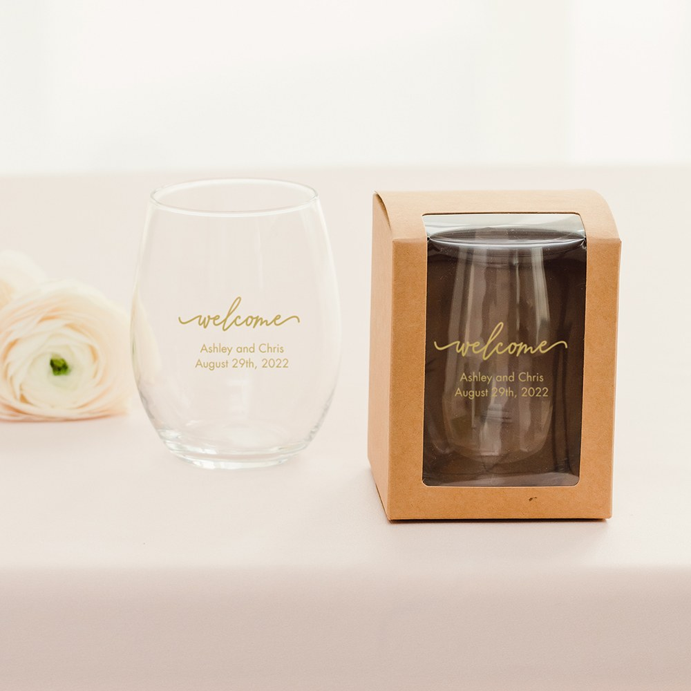 Large Stemless Wine Glass Gift Box with Clear Window - Kraft