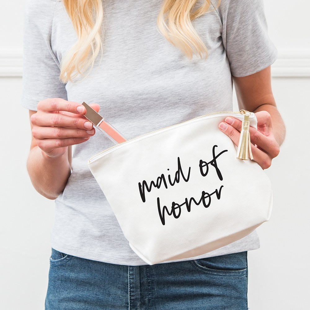 Large Personalized Canvas Makeup Bag - Maid of Honor Script