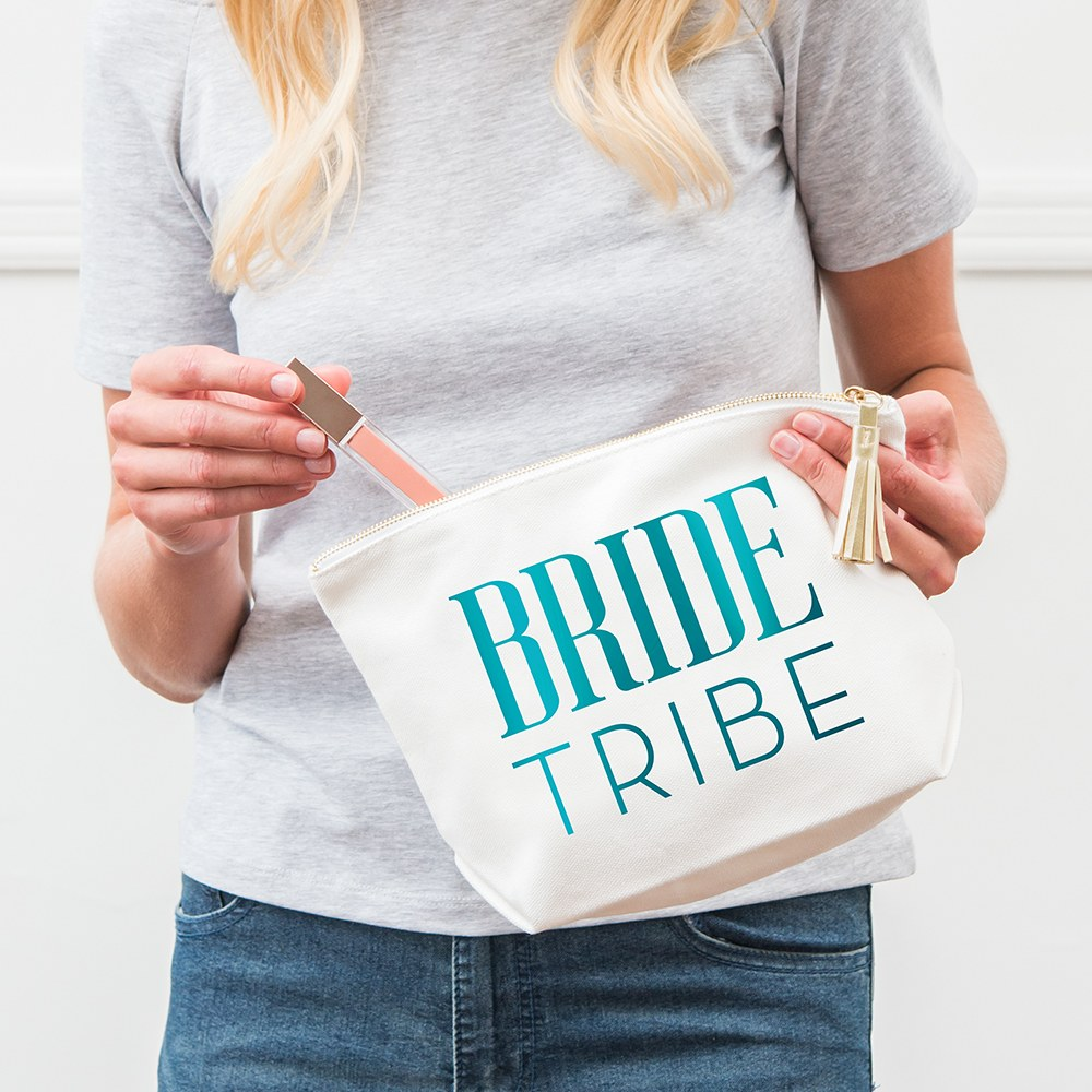 Large Personalized Canvas Makeup Bag - Beach Bride Tribe