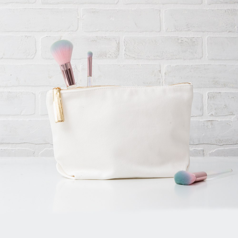 Large Personalized Canvas Makeup Bag - Good Vibes