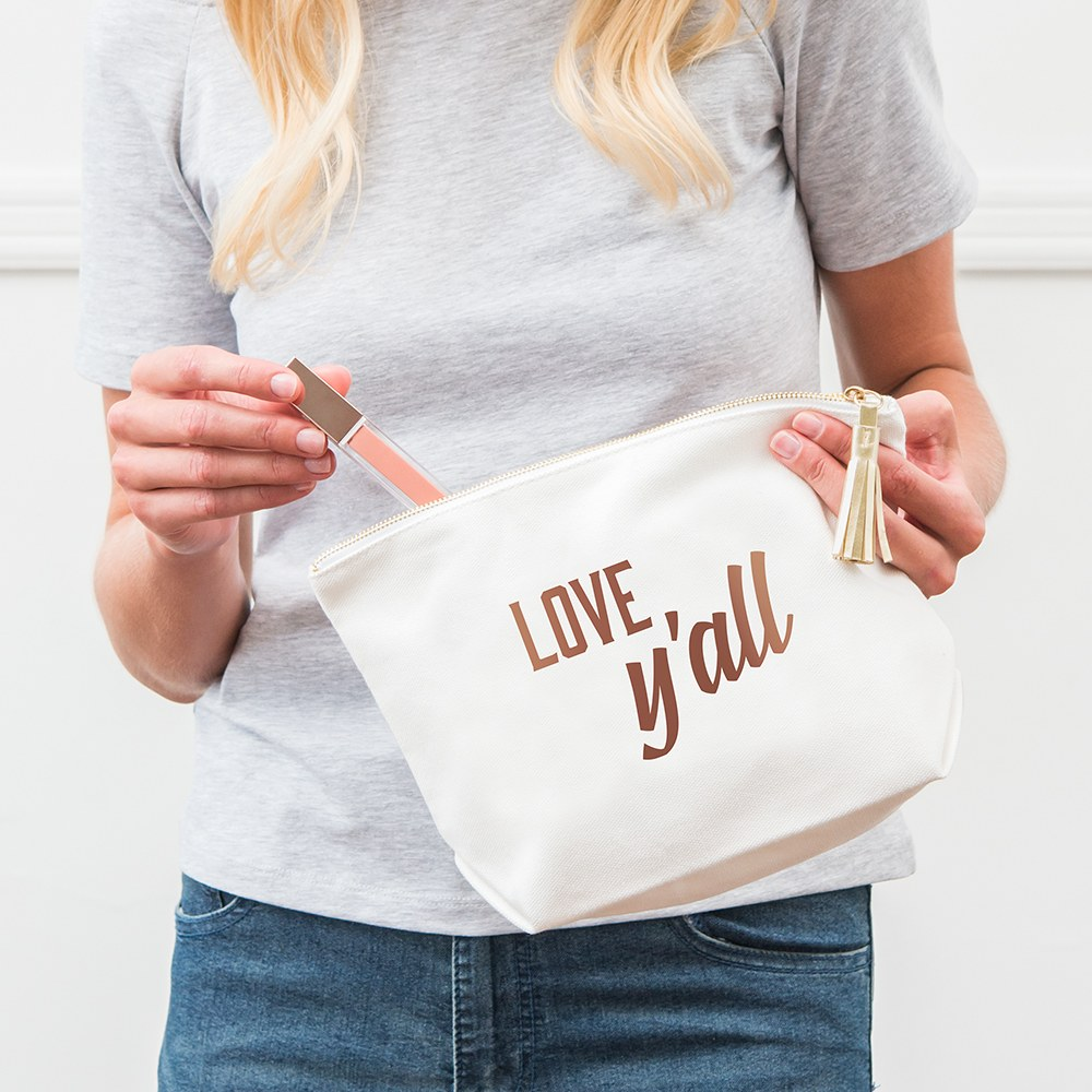 Large Personalized Canvas Makeup Bag - Love, Y'all