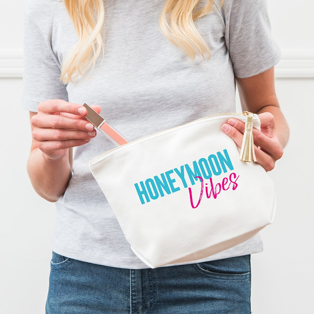 Large Personalized Canvas Makeup Bag - Honeymoon Vibes