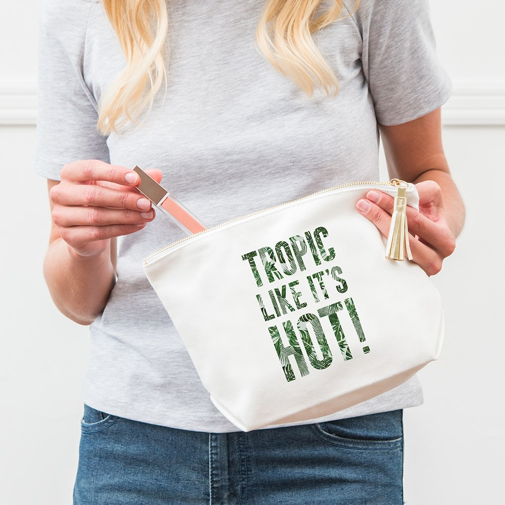 Large Personalized Canvas Makeup Bag - Tropic Like It's Hot
