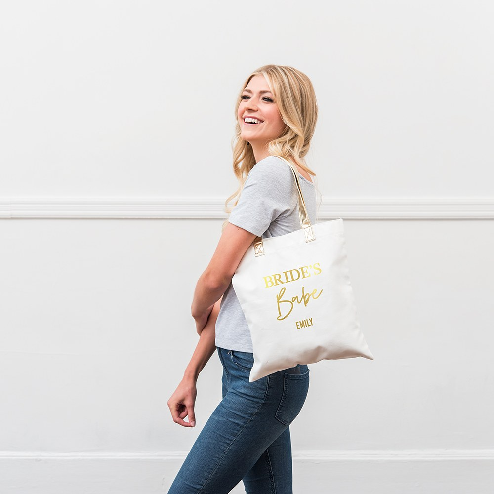 Personalized Cotton Canvas Fabric Tote Bag With Gold Strap - Bride's Babe