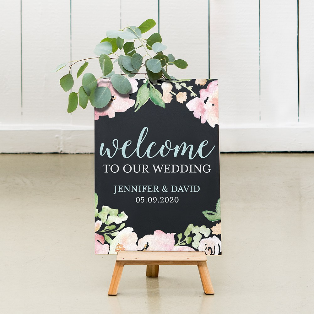 Custom Wedding Chalkboard Sign - Welcome Floral
