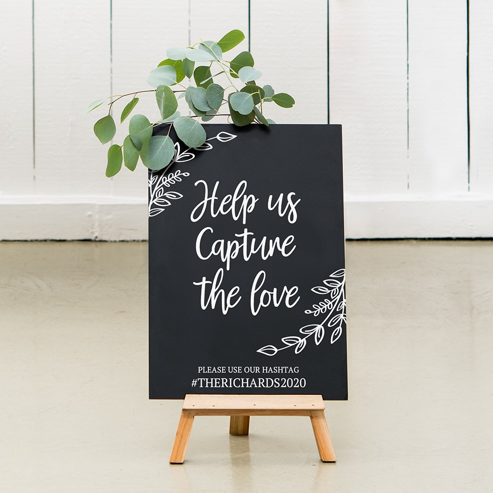 Custom Wedding Chalkboard Sign - Capture The Love