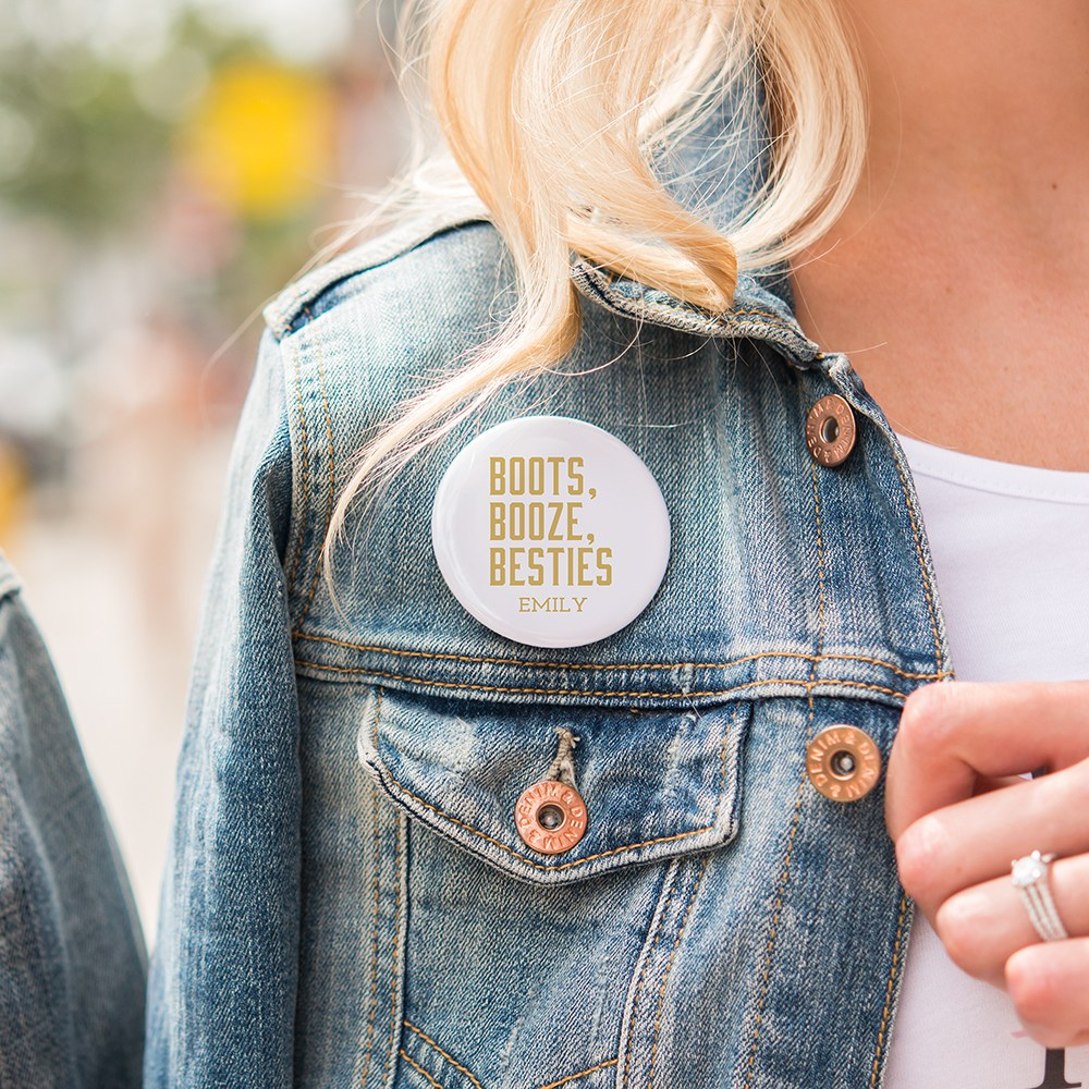 Personalized Bridal Party Wedding Pins - Boots, Booze, Besties