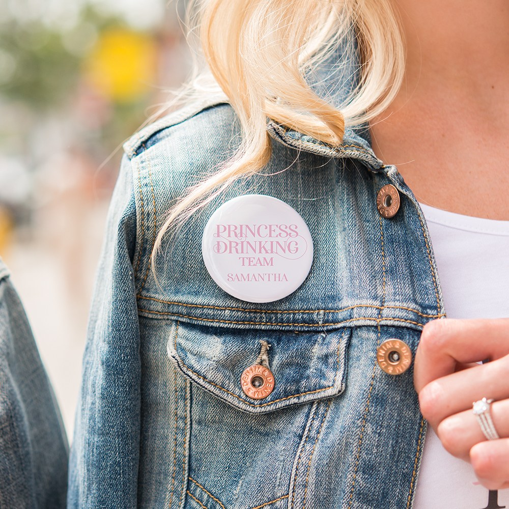 Personalized Bridal Party Wedding Pins - Princess Drinking Team