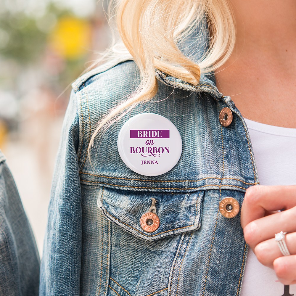 Personalized Bridal Party Wedding Pins - Bride on Bourbon