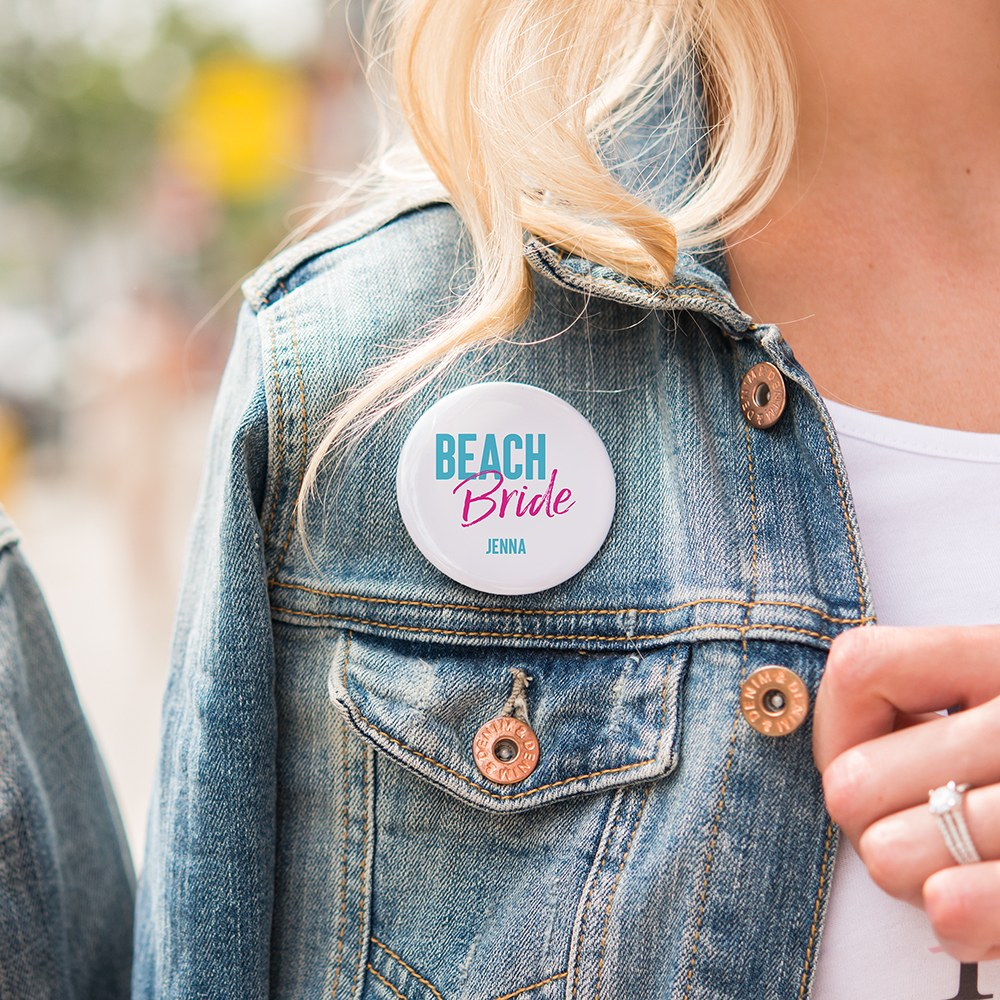 Personalized Bridal Party Wedding Pins - Beach Bride