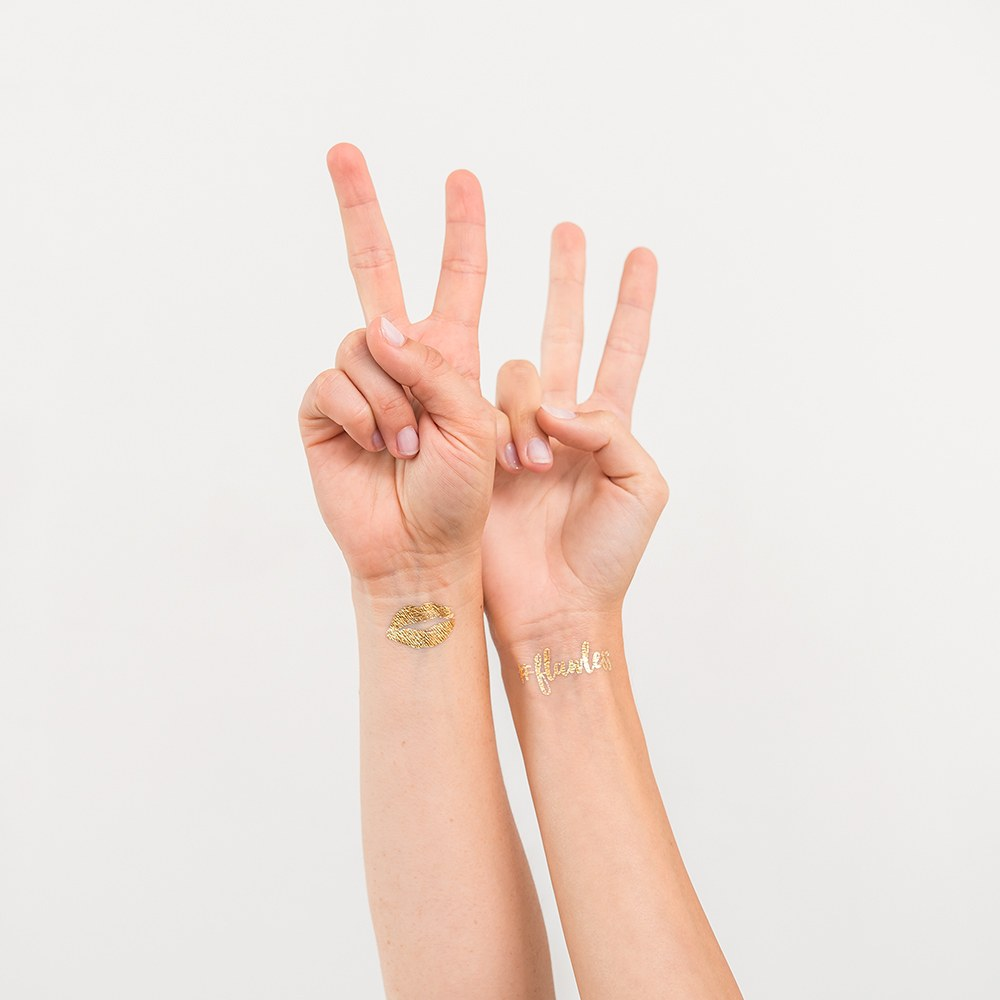 Gold Bachelorette Party Temporary Tattoos - Bridal Squad