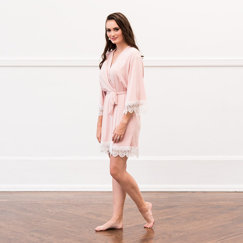Women's Personalized Jersey Knit Robe with Lace Trim - Blush Pink