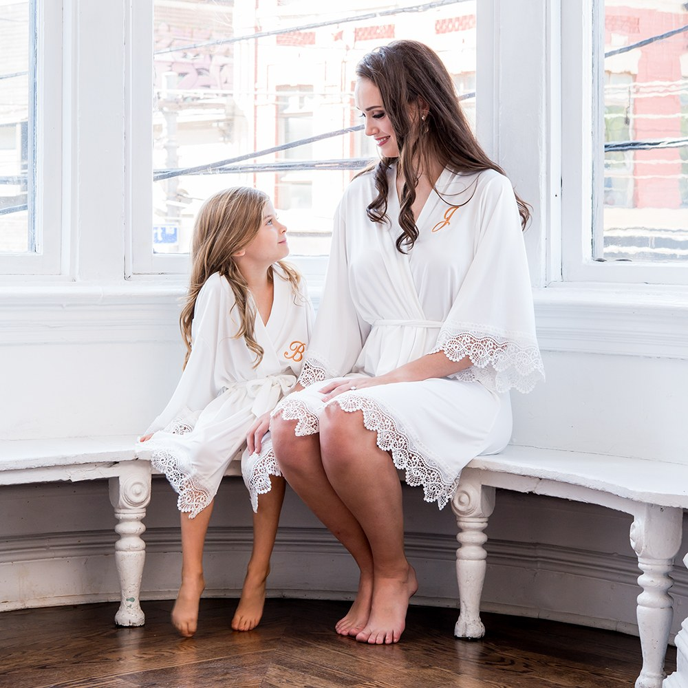 Personalized Flower Girl Jersey Knit Robe With Lace Trim - White