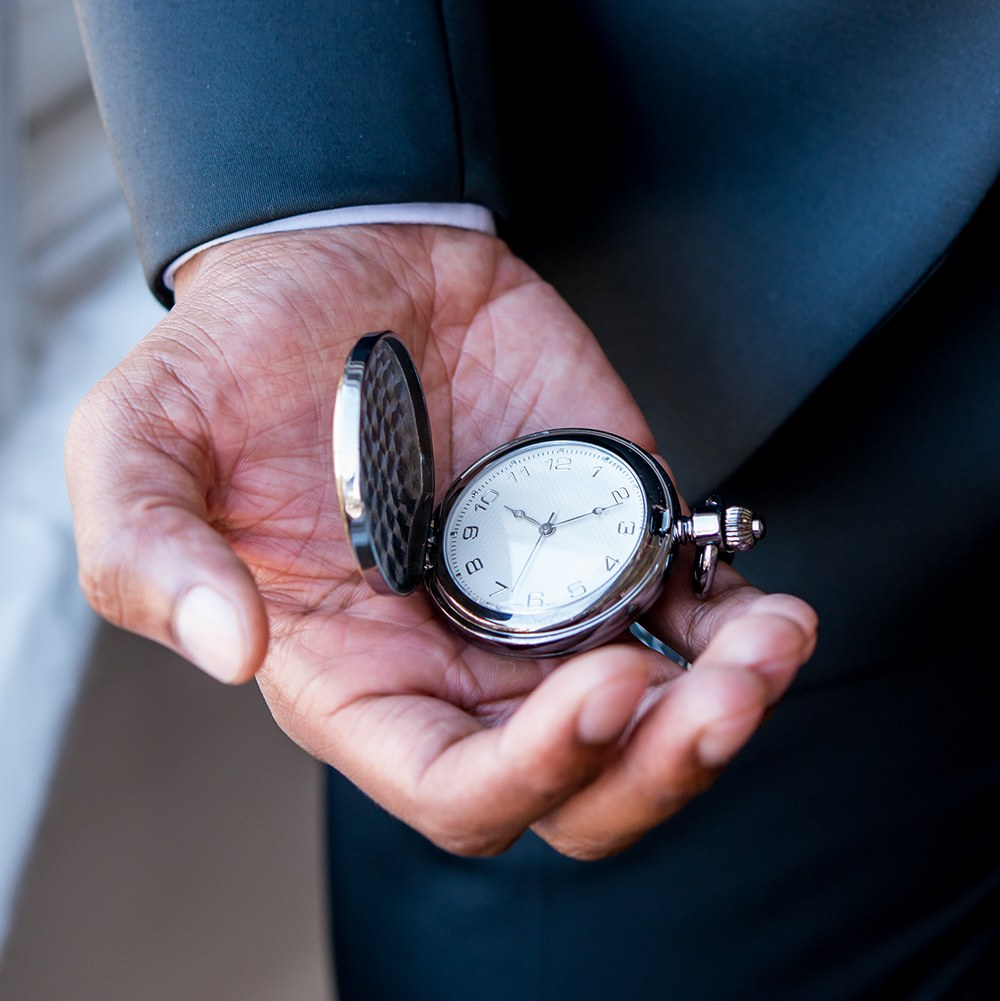 Personalized Gold Frame Gunmetal Pocket Watch & Fob - Modern Groomsman