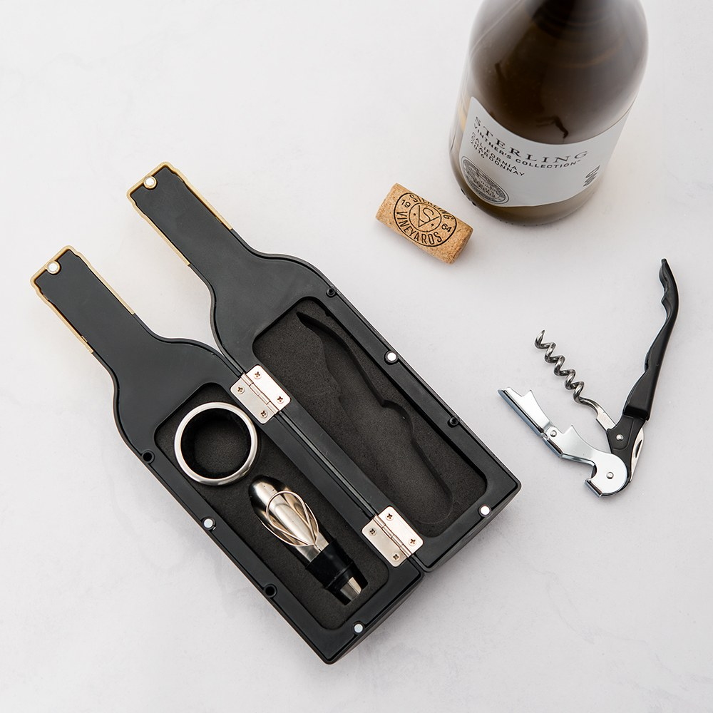 Personalized Wine Bottle Shaped Corkscrew Gift Set - Diamond Emblem Monogram