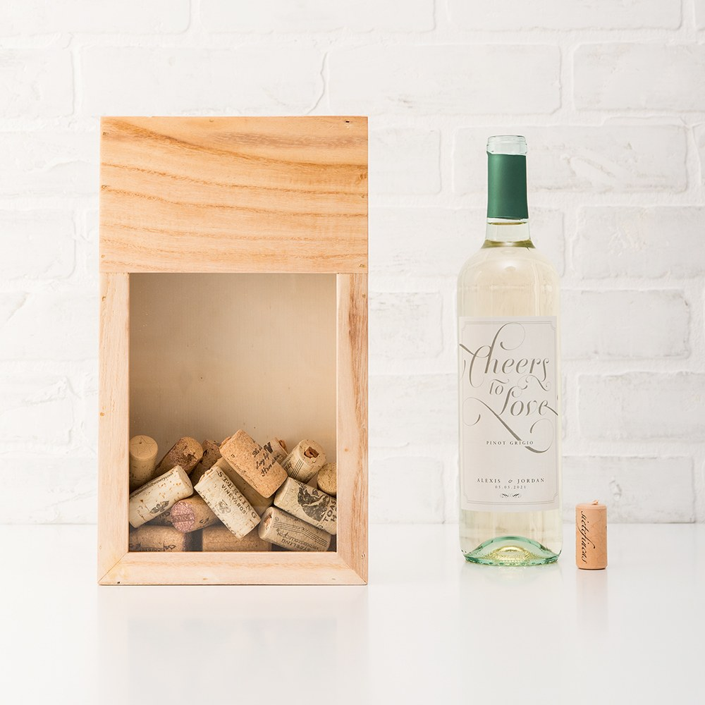 Wooden Wine Cork Holder Shadow Box