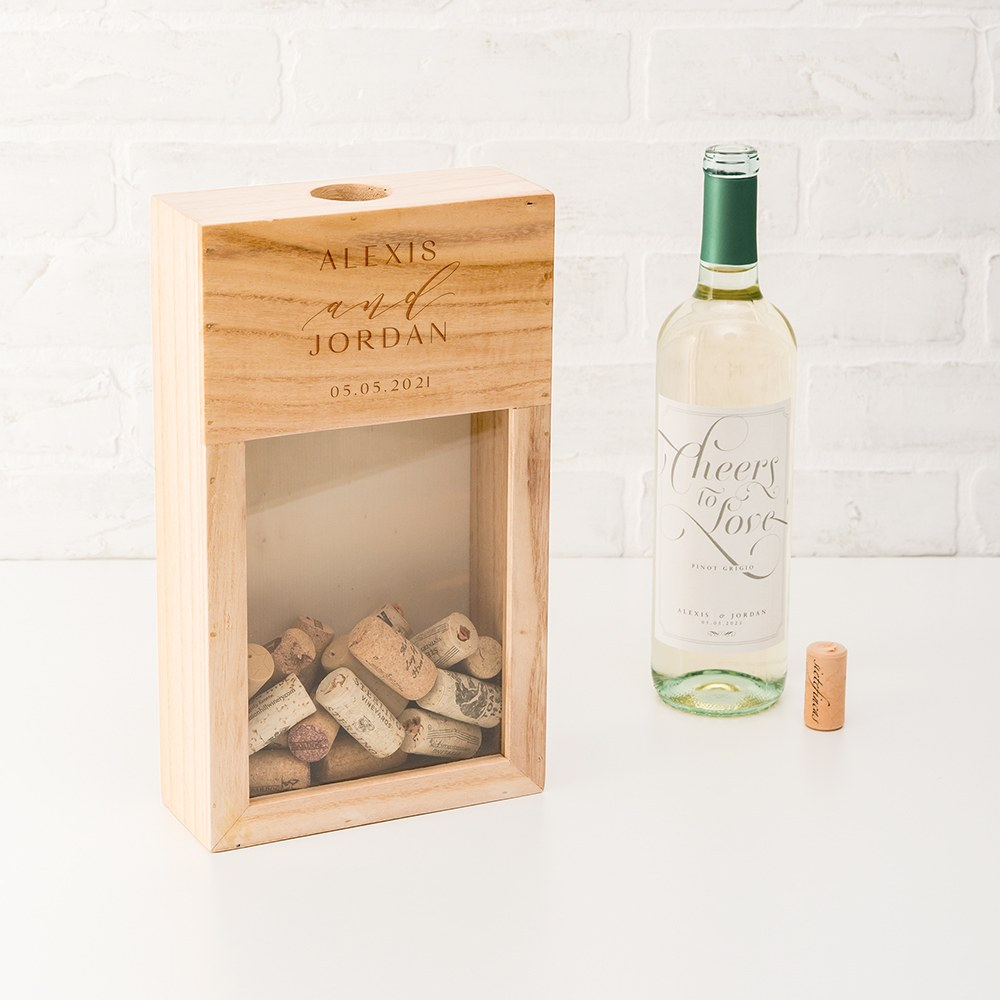 Personalized Wooden Wine Cork Holder Shadow Box - Modern Couple