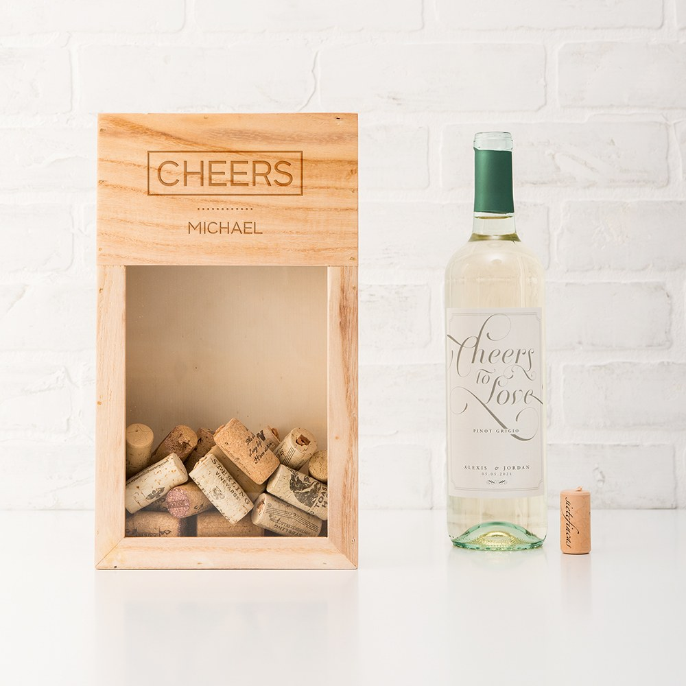 Personalized Wooden Wine Cork Holder Shadow Box - Cheers