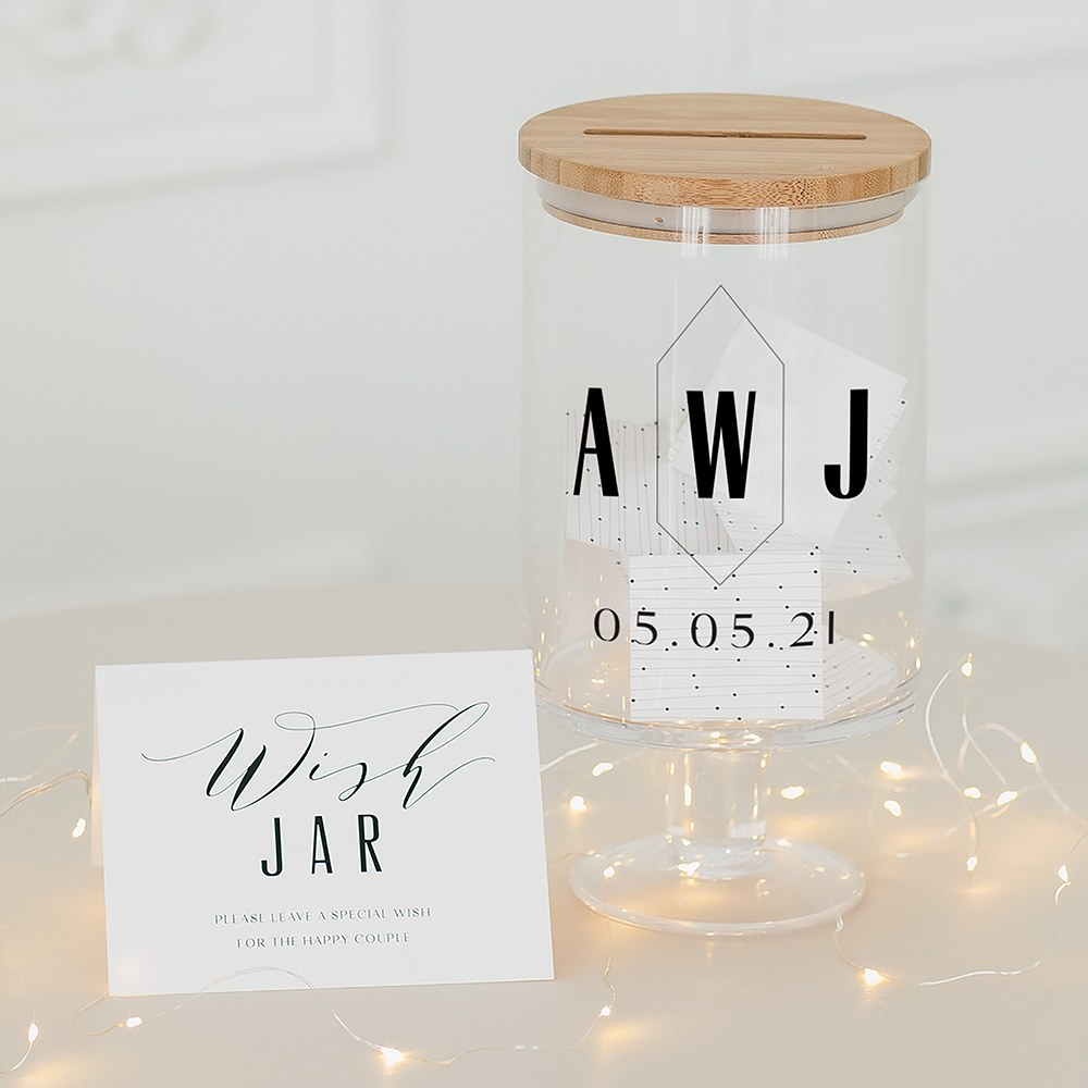 Personalized Glass Wedding Wishes Guest Book Jar - Geo Monogram