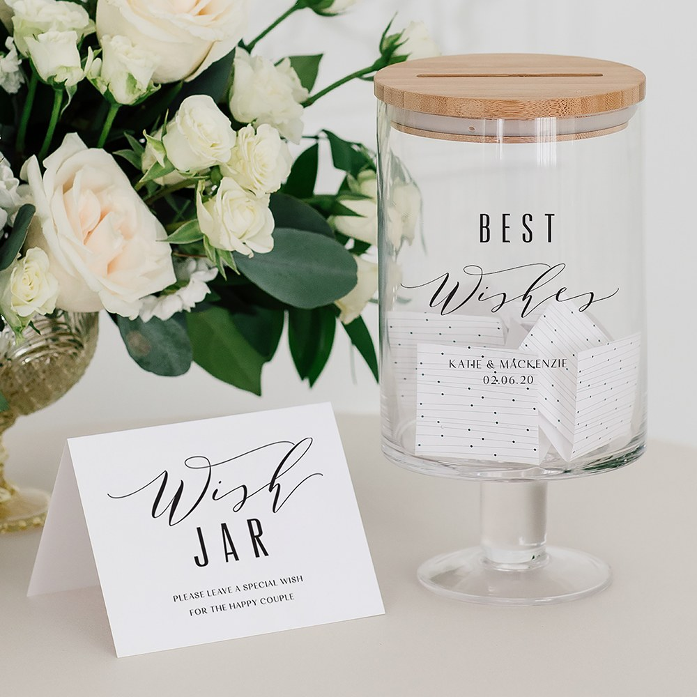Personalized Glass Wedding Wishes Guest Book Jar - Best Wishes